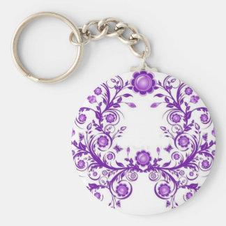 violet floral mehndi henna art key chains