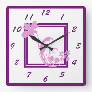 Violet Flower Frame Wall Clock