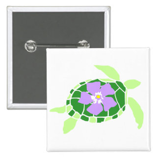 Violet flower sea turtle button