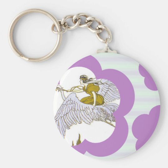 Violet Flowers & Stripes Basic Round Button Key Ring