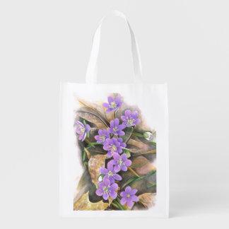 violet flowers reusable grocery bag