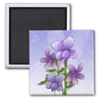 Violet flowers square magnet