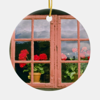 Violet Geraniums In The Window Of A Traditional Ho Christmas Ornament