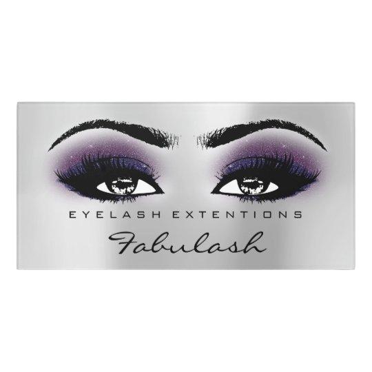 Violet Glitter Silver  Beauty Salon Lash Makeup Door Sign