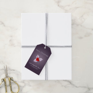 Violet Glow Holly Leaves Holiday Gift Tags