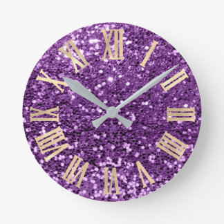 Violet Gold Glitter Sparkly Metallic Roman Numers Round Clock
