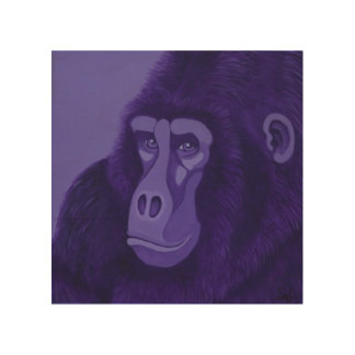 Violet Gorilla Wood Panel Wall Art