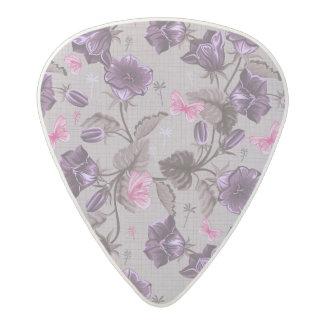 violet hand bells and pink butterflies pattern acetal guitar pick
