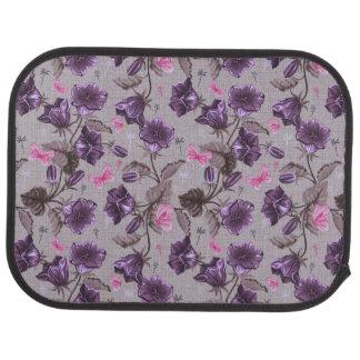 violet hand bells and pink butterflies pattern car mat