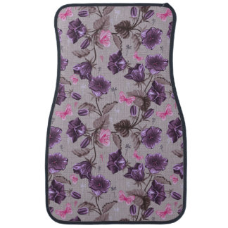 violet hand bells and pink butterflies pattern floor mat