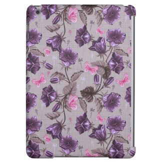 violet hand bells and pink butterflies pattern iPad air case