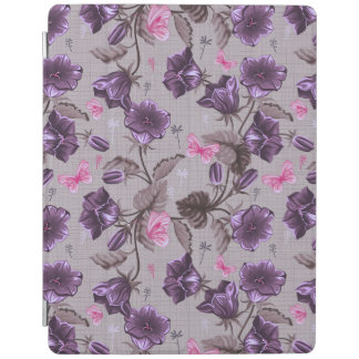 violet hand bells and pink butterflies pattern iPad cover