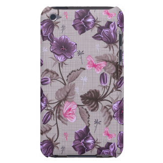 violet hand bells and pink butterflies pattern iPod touch case