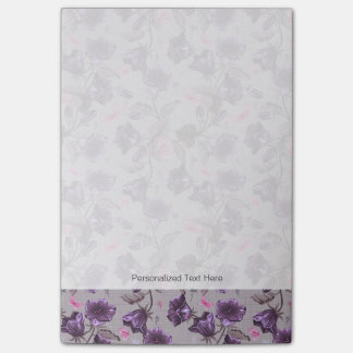 violet hand bells and pink butterflies pattern post-it® notes