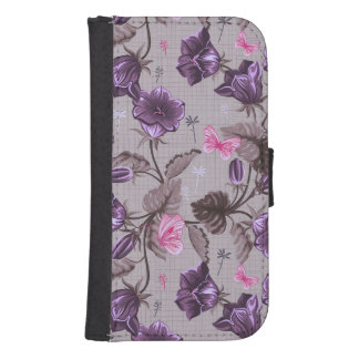 violet hand bells and pink butterflies pattern samsung s4 wallet case