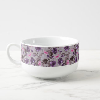 violet hand bells and pink butterflies pattern soup mug