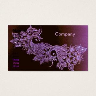 violet henna mehndi floral Business Card