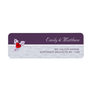 Violet Holly Berries & Leaves Return Address Label