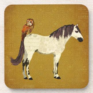 Violet Horse Owl Coaster