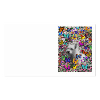 Violet in Butterflies – White Westie Dog Business Cards