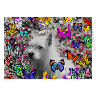 Violet in Butterflies – White Westie Dog Greeting Card