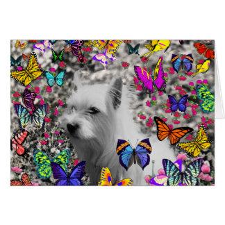 Violet in Butterflies – White Westie Dog Card