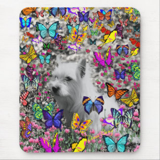 Violet in Butterflies – White Westie Dog Mouse Mat