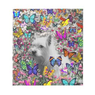 Violet in Butterflies – White Westie Dog Scratch Pad