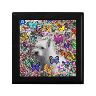 Violet in Butterflies – White Westie Dog Small Square Gift Box