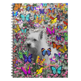 Violet in Butterflies – White Westie Dog Spiral Notebooks