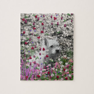 Violet in Flowers – White Westie Dog Jigsaw Puzzle
