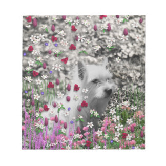 Violet in Flowers – White Westie Dog Memo Notepads
