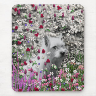 Violet in Flowers – White Westie Dog Mouse Pad