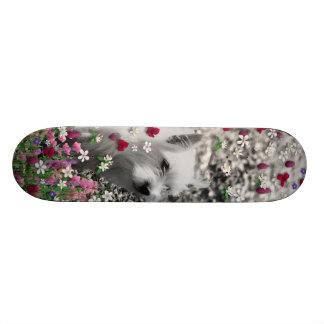Violet in Flowers – White Westie Dog Custom Skateboard