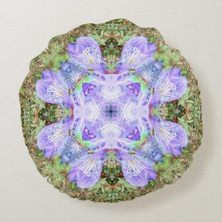 Violet Iris Mandala Round Cushion