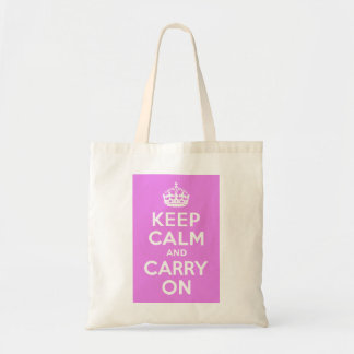 Violet Keep Calm and Carry On Tote Bag