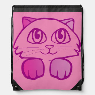 Violet Kitten Drawstring Bag