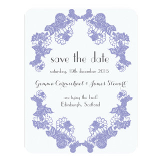 Violet Lace Trim Save The Date 11 Cm X 14 Cm Invitation Card