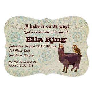 "Violet Llama & Owl Floral Baby Invitation 5"" X 7"" Invitation Card"