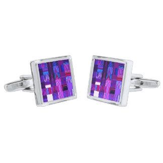 Violet Mélange Square Cufflinks Silver Finish Cufflinks