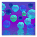 Violet Mist - Cyan and Purple Abstract Light Print