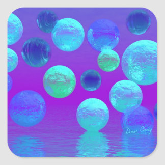 Violet Mist - Cyan and Purple Abstract Light Square Sticker