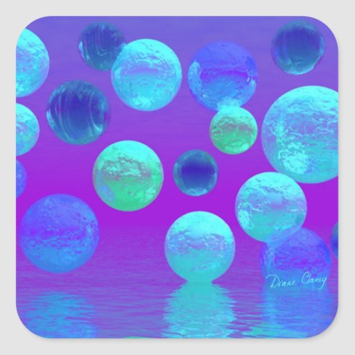 Violet Mist - Cyan and Purple Abstract Light Stickers