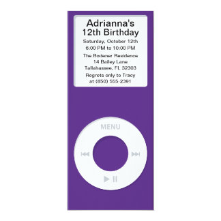 Violet MP3 Player iParty Birthday Party Personalized Invites