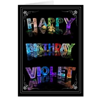 Violet - Name in Lights greeting card (Photo)