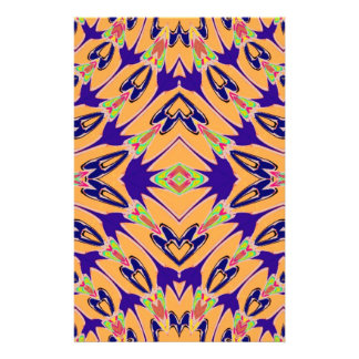 Violet Orange Abstract Flowers Pattern Full Color Flyer