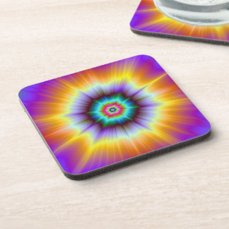Violet Orange and Turquoise Explosion Coasters