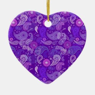 Violet paisley ceramic heart decoration