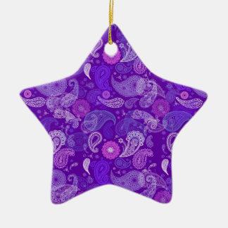 Violet paisley ceramic star decoration