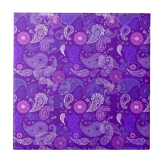 Violet paisley small square tile